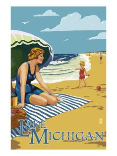 Lake Michigan - Beach Scene Poster by Lantern Press at AllPosters.com