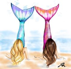 Mermaids (Fashion Illustration Print) (Fashion Illustration Art - Fashion Sketch prints - Home Decor - Wall Decor ) Bff Drawings, Mermaid Drawings, Drawings Of Friends, Mermaid Art, Easy Drawings, Drawing Sketches, Mermaid Tail Drawing, Drawings Of Mermaids, Cute Best Friend Drawings