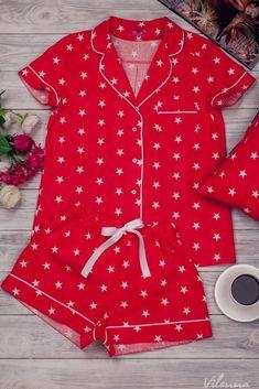 Пижама женская с белыми звездочками • цвет: красный • интернет магазин • vilenna.ua