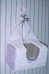 HANGING TISSUE COVER Free   Crochet Pattern. Like this idea but our tissues in NZ have different opening in box. Would be great to store things inside the box!
