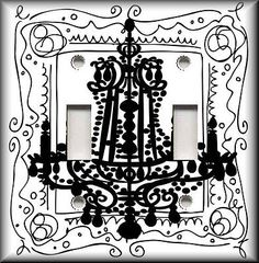 Light Switch Plate Cover - Black And White Chandelier - Home Decor