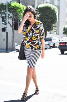 Banana leaf prints paired with stripes as worn by 9 to 5 Chic. #fashionweek #streetstyle