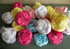 Easy Simple Tissue Paper Rosettes for Garland and such