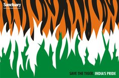 The tiger is the spirit of the Indian jungle... a metaphor for all of nature. This Independence Day we should resolve not to complete the incomplete task of the colonisers who wanted to shoot and kill every last tiger.  Sanctuary claims no copyright on the design and anyone is free to use it with pride and as a symbol of their determination to save our national animal.