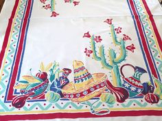 Vintage Simtex Printed Tablecloth Mexican by AStringorTwo on Etsy