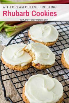 Rhubarb Cookies, Rhubarb Desserts, Rhubarb Recipes Cream Cheese, Strawberry Desserts, Oatmeal Cookie Recipes, Cookie Desserts, Dessert Recipes, Delicious Desserts, Rhubarb Oatmeal