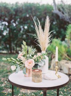 White Boheiman Pampas Grass Rose quartz Blessingway Ceremony Baby Shower Mother s Blessing Wedding Trends, Boho Wedding, Wedding Table, Floral Wedding, Wedding Styles, Wedding Flowers, Protea Wedding, Boho Flowers, Wedding Blush
