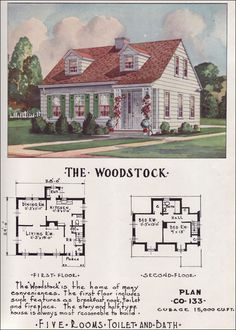 Small Mid Century Cape Cod Cottage - Nationwide House Plan Service - 1950s Small Houses - The Woodstock