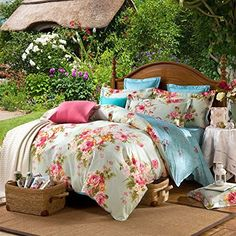 Ttmall Twin Full Queen Size 100%cotton 3-pieces Green Yellow Pink Blue Peony Flowers Floral for Girls Printed Duvet Cover Sets (Twin, 1duvet Cover+2pillowcases)