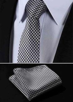 "TG1001L7 Geometric 2.75"" 100%Silk Woven Slim Skinny Narrow Men Tie Necktie Handkerchief Pocket Square Suit Set"