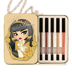 "Makeon Princess Gel Pencil Eyeliner Set - ""Cleopatra"".  Waterproof.  Set comes with 5 different eyeliner pencils in these shades:  Dark Brown, Glam Brown, Deep Bronze, Blonde, and Sunshine.  /   [[시즌1]인어공주 젤펜슬 5종]"