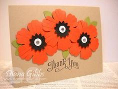 Pretty thank you card with Blossoms punch