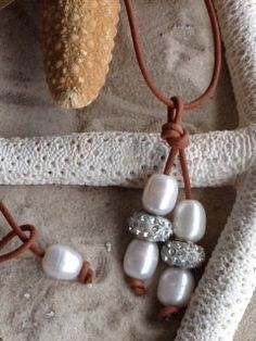 Freshwater Pearl and leather, rhinestone, sparkle, greek leather and pearl necklace