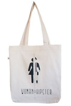 Half Woman Half Hipster tote bag, black print, eco friendly, fair wear, by Poor Edward