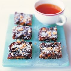 Coconut-Date Bars  Only 3 ingredients and no baking : )