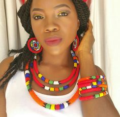 Assorted traditional Zulu beaded necklace/ hairband by ZuluBeads African Necklace, African Jewelry, African Beauty, African Fashion, Ankara Fashion, African Style, African Accessories, Zeina, Beaded Jewelry