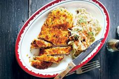 Try Matt Preston& homestyle version of chicken schnitzel and delicious fresh coleslaw. Schnitzel Recipes, Chicken Schnitzel, Midweek Meals, Easy Meals, Weeknight Meals, Eggplant Curry, Poached Chicken, Chicken Tikka, Butter Chicken