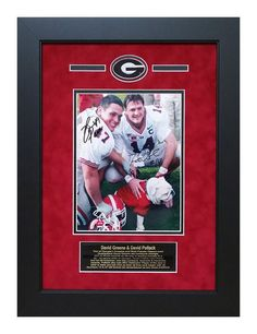David Greene and David Pollack Georgia Bulldogs Autographed 8x10 Custom Framed Picture - taken after their last game as DAWGS, posed here with Uga VI!  This picture would hang nicely in any Georgia Fan's Office, Man Cave or DAWG House!  #DAVIDPOLLACK #DAVIDGREENE #DGDs #GeorgiaBulldogs #ManCaveDecor