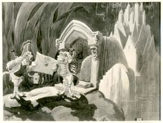Vintage Disney Alice in Wonderland: David Hall Story Art Stills - An Invitation to Tea   David Hall - Disney concept art, His work was rejected for the 1951 film Alice in Wonderland because it was seen as too dark.