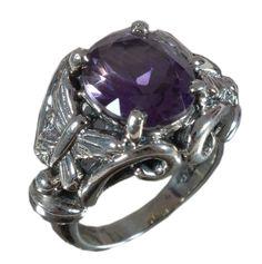 925 Solid Sterling Silver Ring Natural Amethyst Gemstone US Size 5.5 JSR-609 #Handmade #Ring