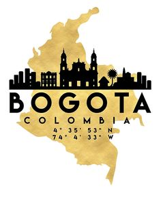 Bogota Colombia Silhouette City Skyline Map Art Print by Deificus. Shop unique, cool products on Fy ✓ Free, fast shipping ✓ 28 day returns ✓ Rated / 5 by of shoppers Map Canvas, Canvas Prints, Colombia Map, Colombia Travel, Framed Art Prints, Poster Prints, Skyline, Map Art, Belle Photo