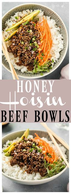 Stir-Fry Honey Hoisin Beef Bowls   These Bowls are packed with flavor & ready in 30 minutes or less! Lean ground beef mixed with finely diced mushrooms, red onions, and Asian aromatics, sautéed in a sweet and savory sauce, these bowls are hearty, yet healthy and perfect for easy weeknight dinners! #easy #recipe #dinner #beef