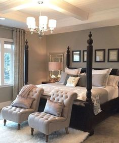 Stunning dark wood bedroom furniture ideas - Diy Tutorials - The Effective Pictures We Offer You About Master Bedrooms design A quality picture can tell you ma - Romantic Master Bedroom, Modern Master Bedroom, Master Bedroom Makeover, Master Bedroom Design, Home Bedroom, Bedroom Apartment, Contemporary Bedroom, Gray Bedroom, Master Suite