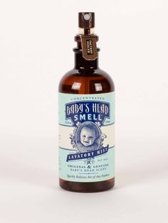 For the treatment and cure of soiled air.  Apply two quick mists, and all that's left behind is the pleasing and pure scent of a baby's head.