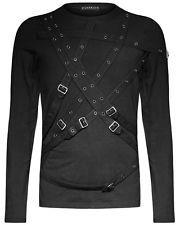 Punk Rave Mens Bondage Strap Top Black Goth Dieselpunk Punk Long Sleeve T Shirt