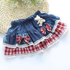 Tutu Skirt Children Cotton Bow Denim Plaid Stripe Ball Fashion Costume