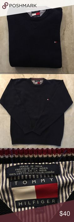Tommy Hilfiger Men's Navy Knit Sweater Crewneck Tommy Hilfiger Men's Navy Knitted Sweater Crewneck  EXCELLENT CONDITION Size: XL Very comfortable!  For a true Tommy lover who wants a casual but classy look!  Ask me any questions! Check out my page for more.. Tommy Hilfiger, Ralph Lauren, Polo Bear, and many more! Polo by Ralph Lauren Sweaters Crewneck