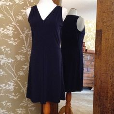 Michael Kors Navy Blue with Gold Detail Dress Beautiful designer dress. Sleeveless with one pleat from the waist down--knee length! Michael Kors Dresses