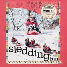 Sledding Fun Layout    Design by Pam Callaghan    For this fun sledding scrapbook page, Pam grouped several photos in a large block for a big emphasis in the center of her layout. She curved the edges of the patterned paper and the photos to add movement to the page.    Editor's Tip: Create a title that mirrors the action in your photos. Pam lined up her letter stickers along the bottom edges of staggered supporting photos to play up the downhill action.