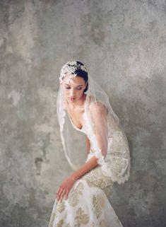 Claire Pettibone 'Julia' lace headpiece and 'Alchemy' wedding dress | Photo: Elizabeth Messina http://www.clairepettibone.com/bridal/?cp=gowns/alchemy