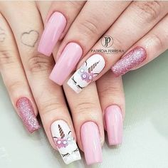50 Magical Unicorn Nail Art DesignsMany people have a passion for unicorn nails. And Unicorn nails are becoming a unique trend. If you think you have a different opinion, you should take a closer look Unicorn Nails Designs, Unicorn Nail Art, Cute Nails, Pretty Nails, Hair And Nails, My Nails, Long Nails, Nail Art Designs, Nail Designs For Kids