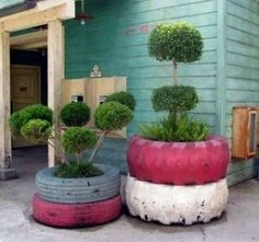 Recycled tire planters...that way they'll be one less thing in the yard that makes us look like the Clampetts