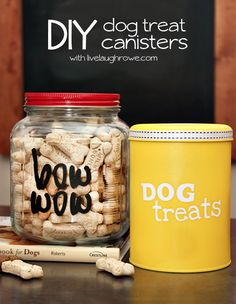 DIY Dog Treat Canisters--kids could make for grandma