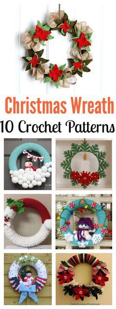 10 Christmas Wreath Crochet Patterns Crochet Christmas Wreath, Crochet Wreath, Crochet Christmas Decorations, Crochet Decoration, Christmas Crochet Patterns, Christmas Wreaths, Christmas Crafts, Poinsettia Wreath, Christmas Poinsettia