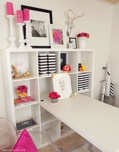 Pink + Black Office Makeover | The Blissful Bee