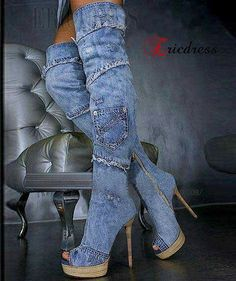 693ae1b7f34d Shop Retro Denim Peep-toe Stiletto Heels Knee High Boots on sale at  Tidestore with trendy design and good price. Come and find more fashion  Knee High Boots ...