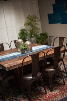 "LOVE TABLE TOP AND CHAIRS - Gorgeous handmade square dining table of reclaimed barn wood in Found Vintage Rentals Look Book ""Feels Like Home"" shot by Studio EMP"