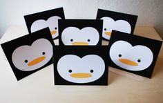 The perfect invitations! Set of 6 Penguin Greeting Cards PERSONALIZED for YOU ( A2 4.25 x 5.5 ). $12.00, via Etsy.