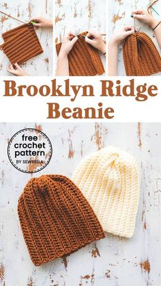 Easy Crochet Brooklyn Ridge Hat - free pattern This Brookly ridge beanie is classic and edgy, just like the city. I love its easy stitches and customizable style! You can use my pattern to use virtually any stitch and adjust it so you have the perfect fit Easy Crochet Hat, Bonnet Crochet, Crochet Simple, Crochet Beanie Pattern, Crochet Crafts, Free Crochet, Knit Crochet, Crochet Patterns, Diy Crafts