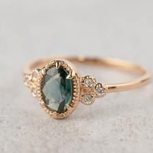 Celine Ring - unheated peacock Sapphire (make your own ring) - Diamant-Ring - Engagement Rings Engagement Ring Settings, Vintage Engagement Rings, Vintage Rings, Diamond Engagement Rings, Nontraditional Engagement Rings, Green Saphire Engagement Ring, Vintage Diamond, Diamond Bands, Diamond Wedding Bands