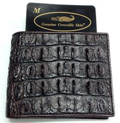 100% BACKBONE GENUINE CROCODILE LEATHER MEN'S BIFOLD WALLET SHINY DARK BROWN SOFT NEW