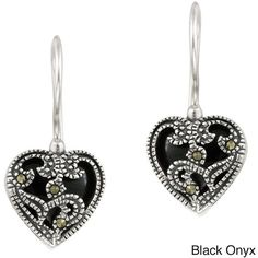 Glitzy Rocks Sterling Silver Marcasite and Gemstone Heart Earrings ($22) ❤ liked on Polyvore featuring jewelry, earrings, black, gemstone jewelry, gem earrings, sterling silver gemstone earrings, gem jewelry and sterling silver heart jewelry