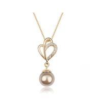 Collier doré avec pendentif perle bronze