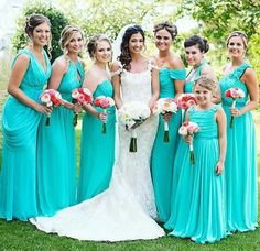Real life bridesmaids featuring #dessygroup dress in pantone  turquoise. Bouquets enhancing the natural beauty of these bridesmaids and the bride.  #bridalparty #bridal #bride #bridesmaids #bridesmaidsdresses #patsbridals #bridesmaiddress #wedding #miamiwedding #miamibride