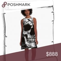 SKULL DRESS PRETTY SKULL DRESS. WHITE W BLACK AND PURPLE.   Bust 17in across. Length 34  88% poly 12% spandex blend. Dresses