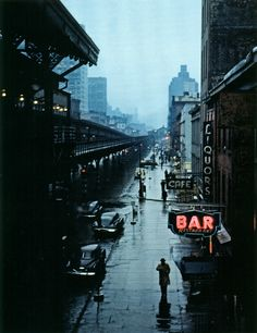 Rain falling on 3rd Avenue - New York City, New York - circa: 1951